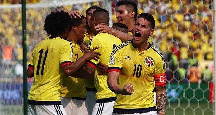 Колумбия празднует гол, twitter.com