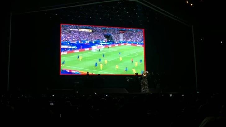 Адель смотрит матч Франция – Румыния / youtube.com
