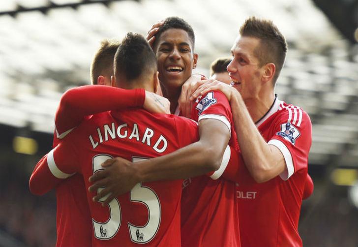 "Маркус Решфорд празднует забитый гол ""Арсеналу""."