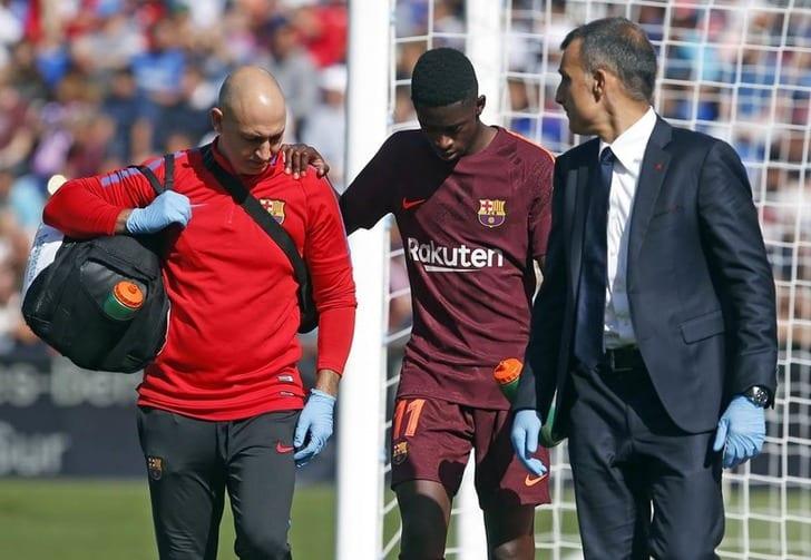 Футболист «Барселоны» Дембеле пропустит оттрёх дочетырёх месяцев из-за травмы