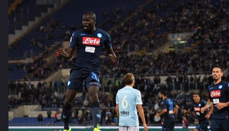 "Кулибали празднует гол в ворота ""Лацио"", Twitter SSC Napoli"