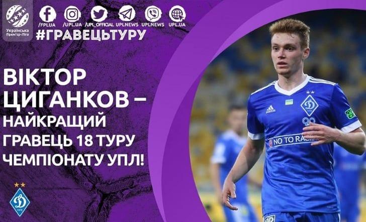 Цыганков— лучший футболист 18-го тура чемпионата Украинского государства
