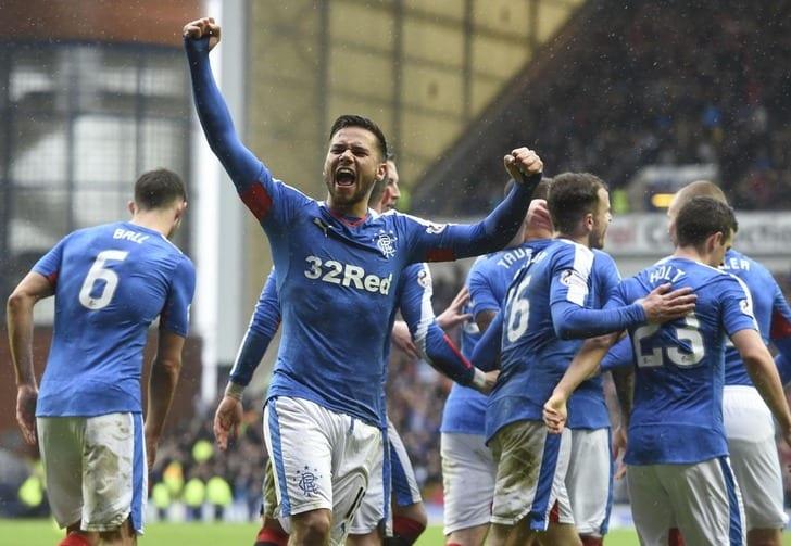 """Рейнджерс"" празднует забитый гол, Herald Scotland"