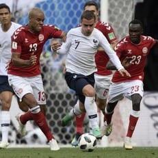 Первая нулевая ничья на ЧМ-2018 случилась в игре Дания - Франция
