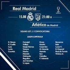 """""""Реал Мадрид"""" назвал заявку на матч против """"Атлетико"""" в Суперкубке УЕФА"""