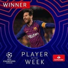 Лионель Месси - лучший игрок недели в Лиге чемпионов
