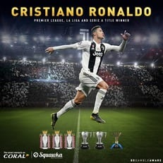 Криштиану Роналду - первый футболист, выигравший АПЛ, Примеру и Серию А