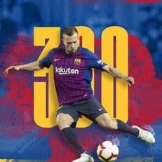 """Хорди Альба провел 300-й матч за """"Барселону"""""""