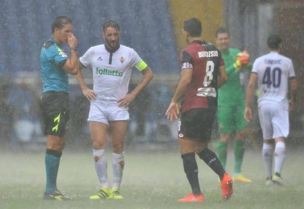 Два матча чемпионата Италии прерваны из-за сильного дождя